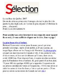 Le meilleur du Québec, Sélection Readers Digest