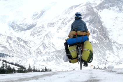 Traversée à vélo des montagnes Rocheuses par -30 degrés Celcius ©Bertrand Lemeunier