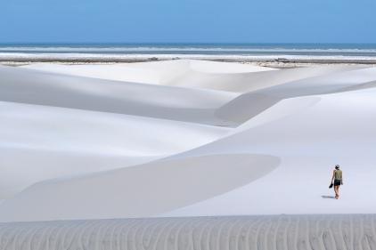 """Magnifique séjour épuisant avec nos vélos dans le sable au """"Parque Nacional dos Lençóis Maranhenses"""" (Maranhao, Brésil) ©Bertrand Lemeunier"""