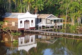 """Église et école dans un village du peuple indigène des """"Ribeirinhos"""" vivant au bord de l'esturaire du fleuve Amazone (Brésil) ©Bertrand Lemeunier"""