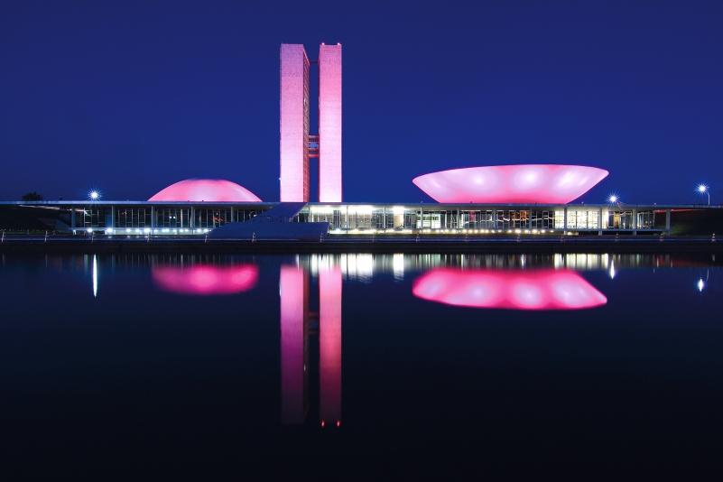 Congrès national du Brésil de nuit avec son reflet (Brasilia, District Fédéral, Brésil) ©Bertrand Lemeunier