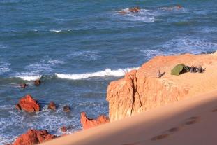 Camping à la plage de Ponta Grossa après bien des difficultés dans le sable avec nos vélos (Ceara, Brésil) ©Bertrand Lemeunier