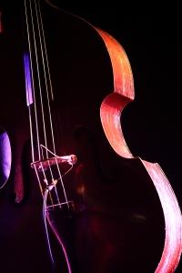Détails d'une contrebasse avec un bel éclairage de scène, ROSEQ (Québec, Canada) ©Bertrand Lemeunier